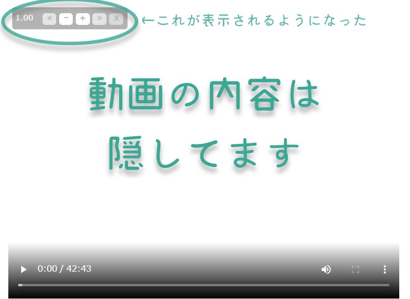 速度変更ができるようになった動画の再生画面です。